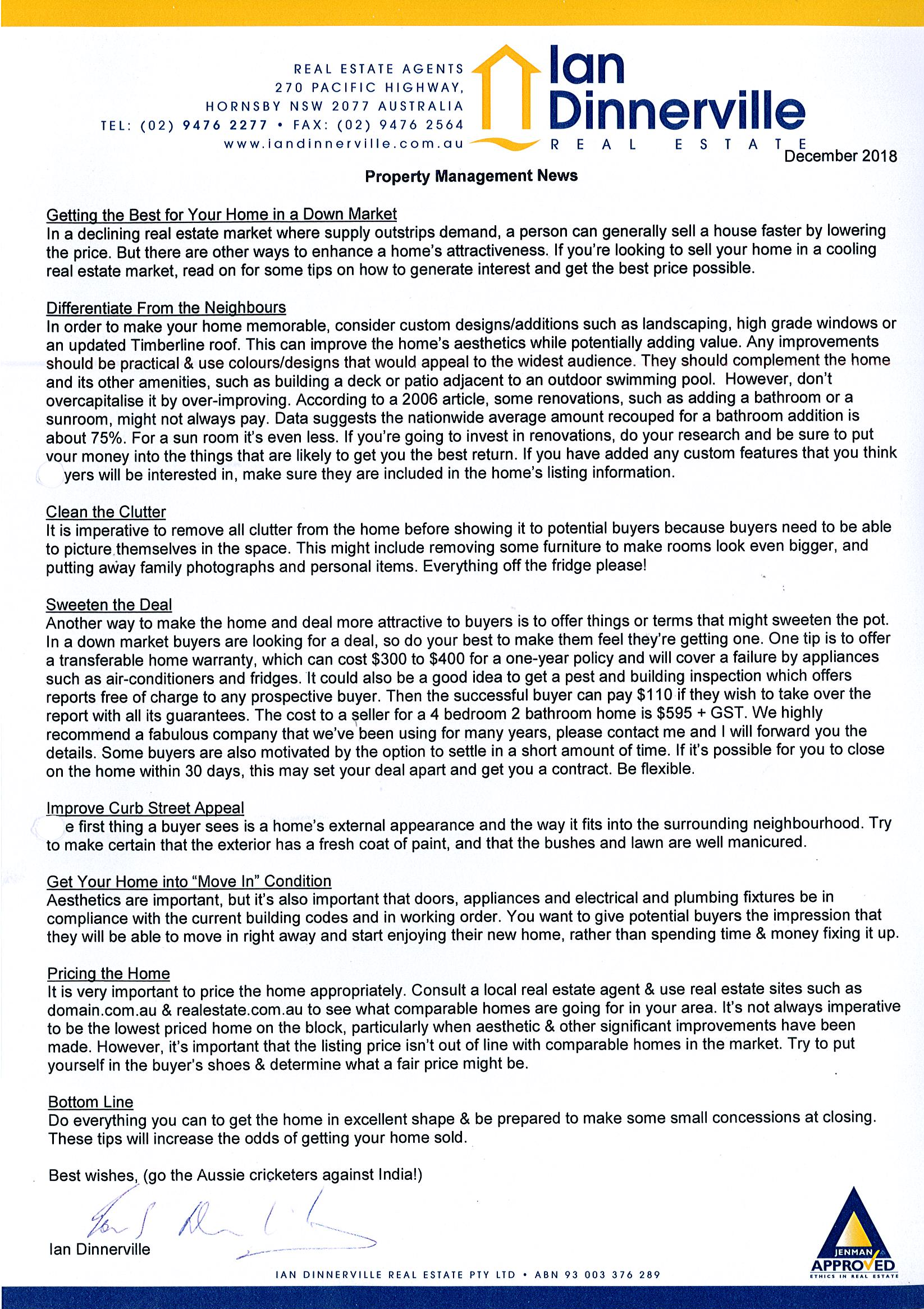 Ian Dinnerville Real Estate - Real Estate Newsletters